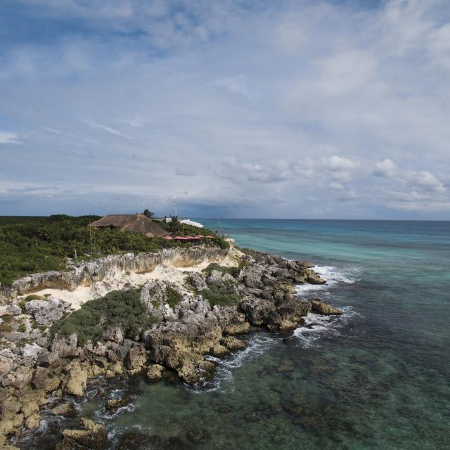 Coastal Rock Outcropping Drone Photo