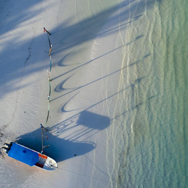 Aerial Drone Shot of Boat and Hammocks