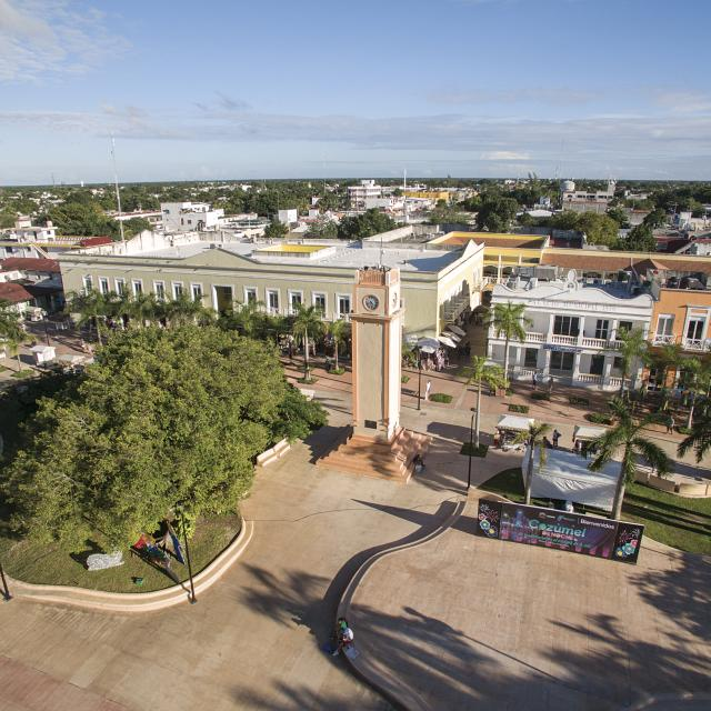 Cozumel Town Plaza Aerial
