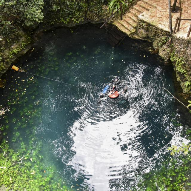 Swimmer in Cenote