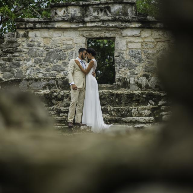 Couple Posing in Mayan Ruins