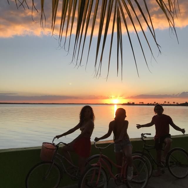 People on Bikes Chetumal Sunset