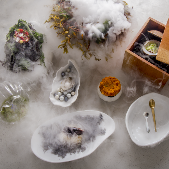 Food on Table with Fog