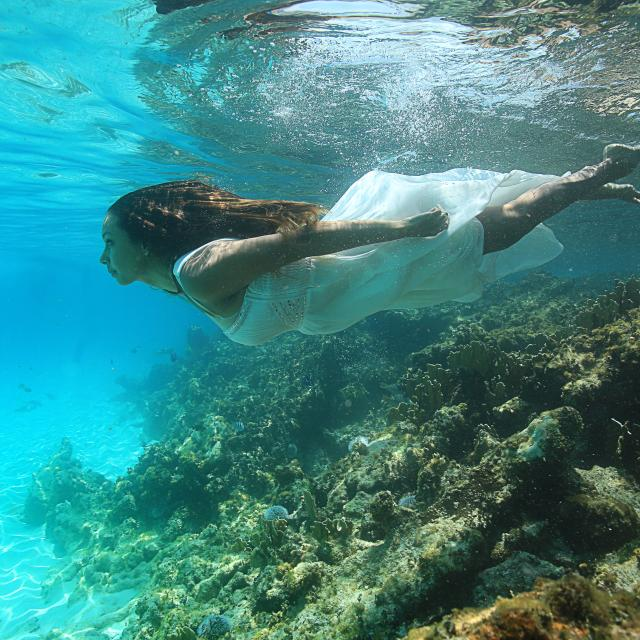 Woman Underwater in Wedding Dress