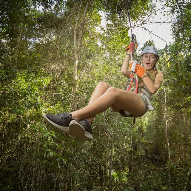 Woman on Zipline