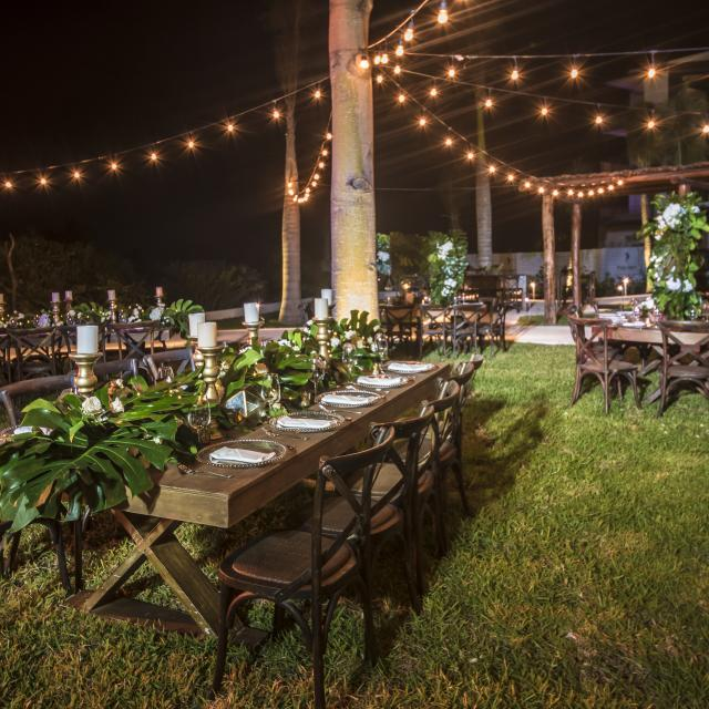 Outdoor Ceremony Setup at Night