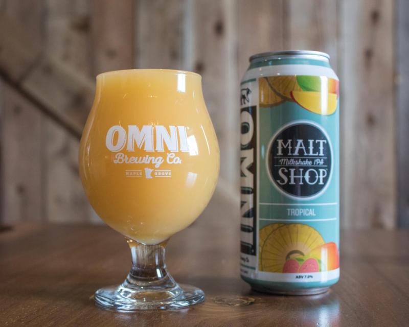 OMNI Milkshake IPA in can and pint glass
