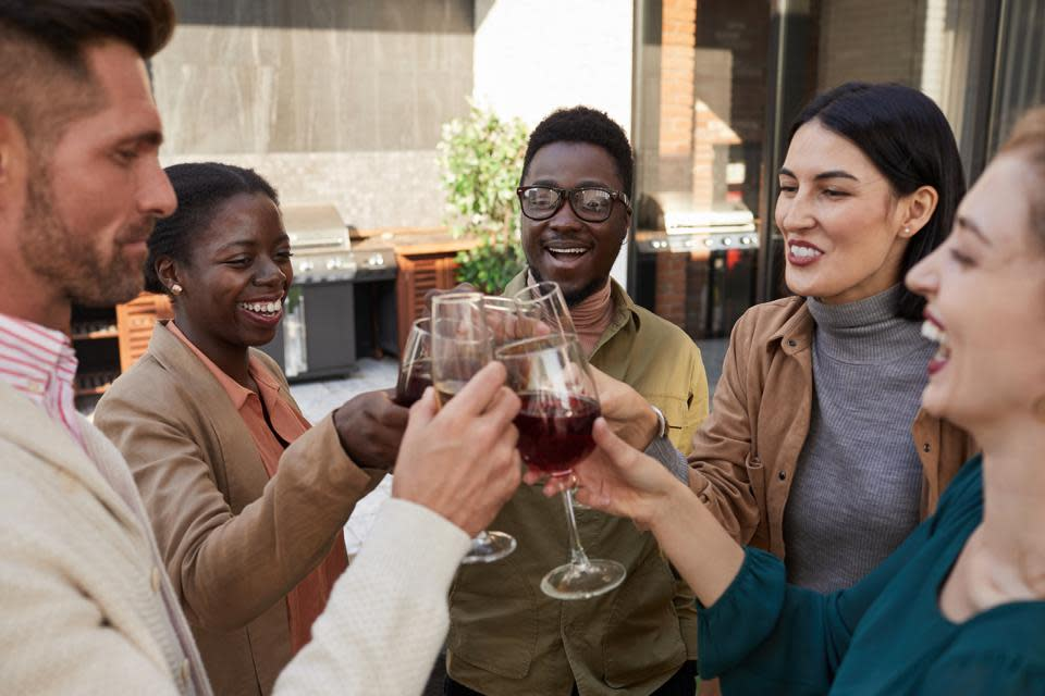 Divesre group of young people clink wine glasses