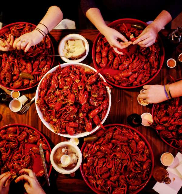 Group Eating Crawfish