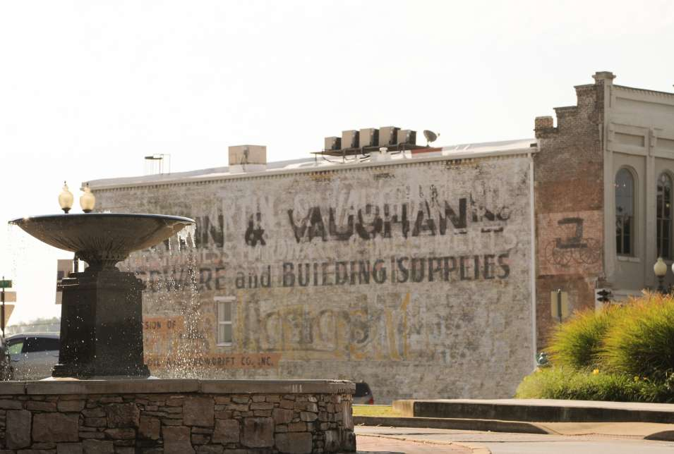 Fountain & Ghost Sign on the Square