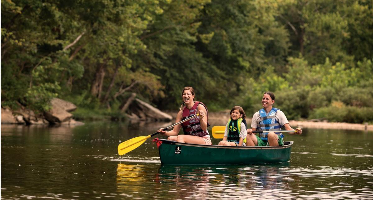 Paddlers on the Finley River near Ozark, Missouri