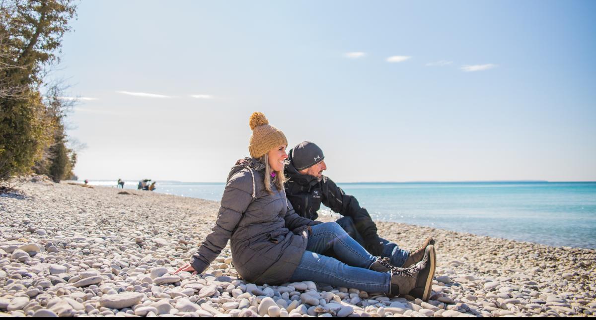 Couple on the beach at Lake Michigan