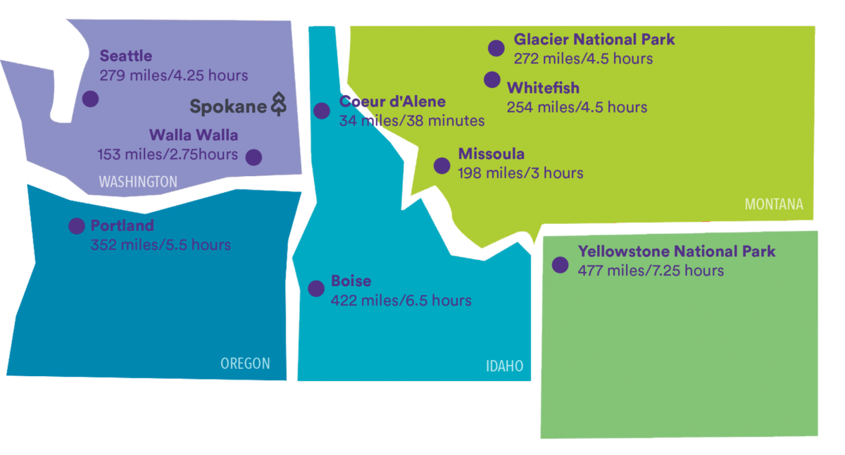 Drive Times & Distance to Spokane