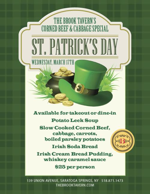 The Brook Tavern St. Patrick's Day Menu