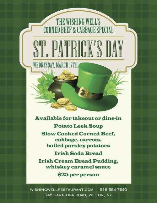Wishing Well St. Patrick's Day Menu
