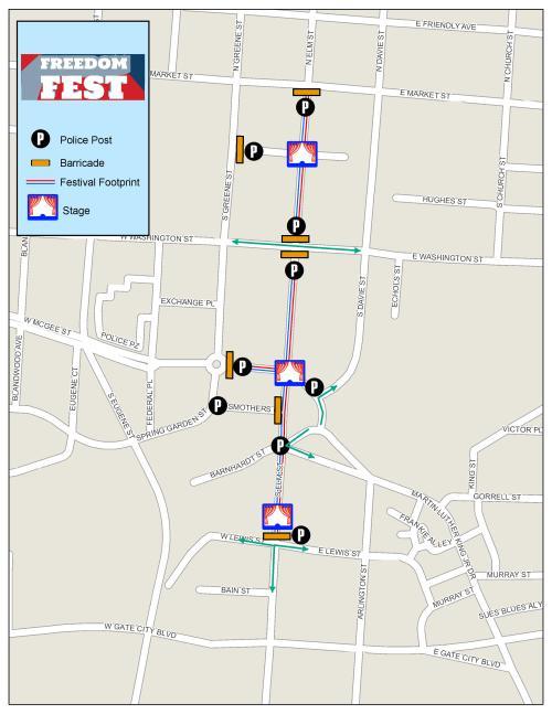 Freedom Fest Street Closure map