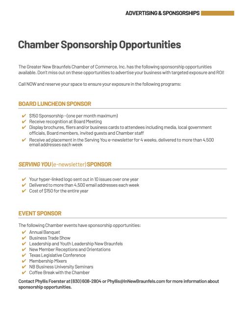 Chamber Sponsorships 2021