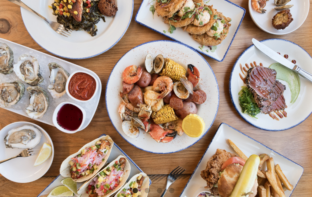 Fresh seafood and southern coastal classics are served at the waterfront restaurant Wharf on Jekyll Island, Georgia