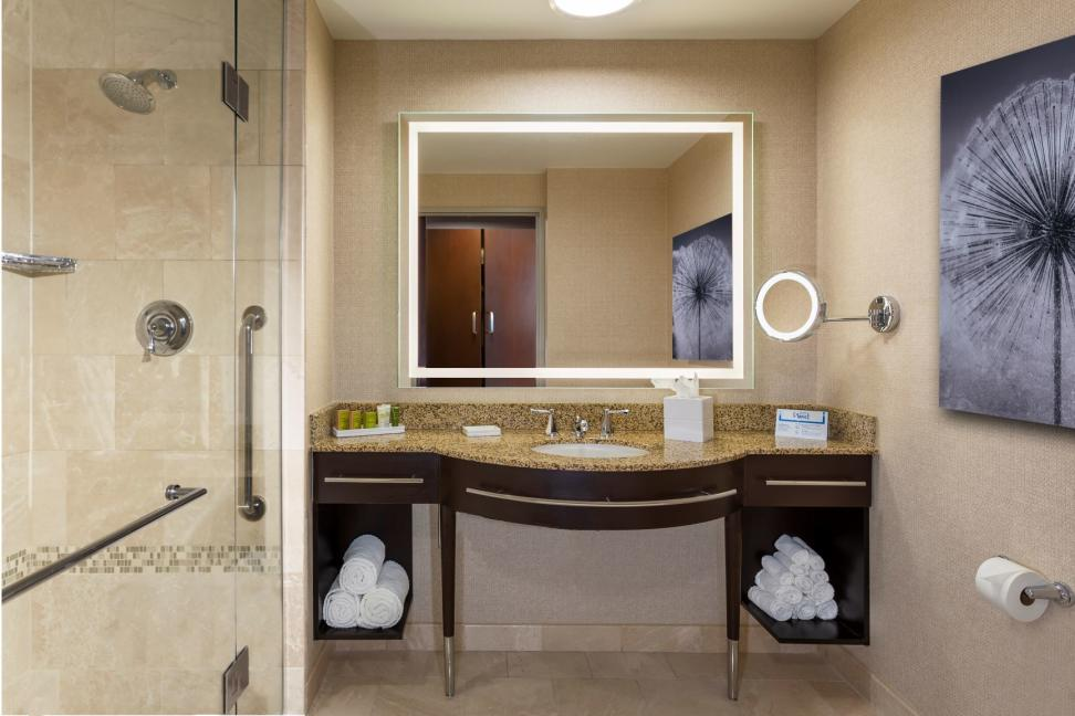 A recently renovated guest bathroom at the Hilton Americas-Houston