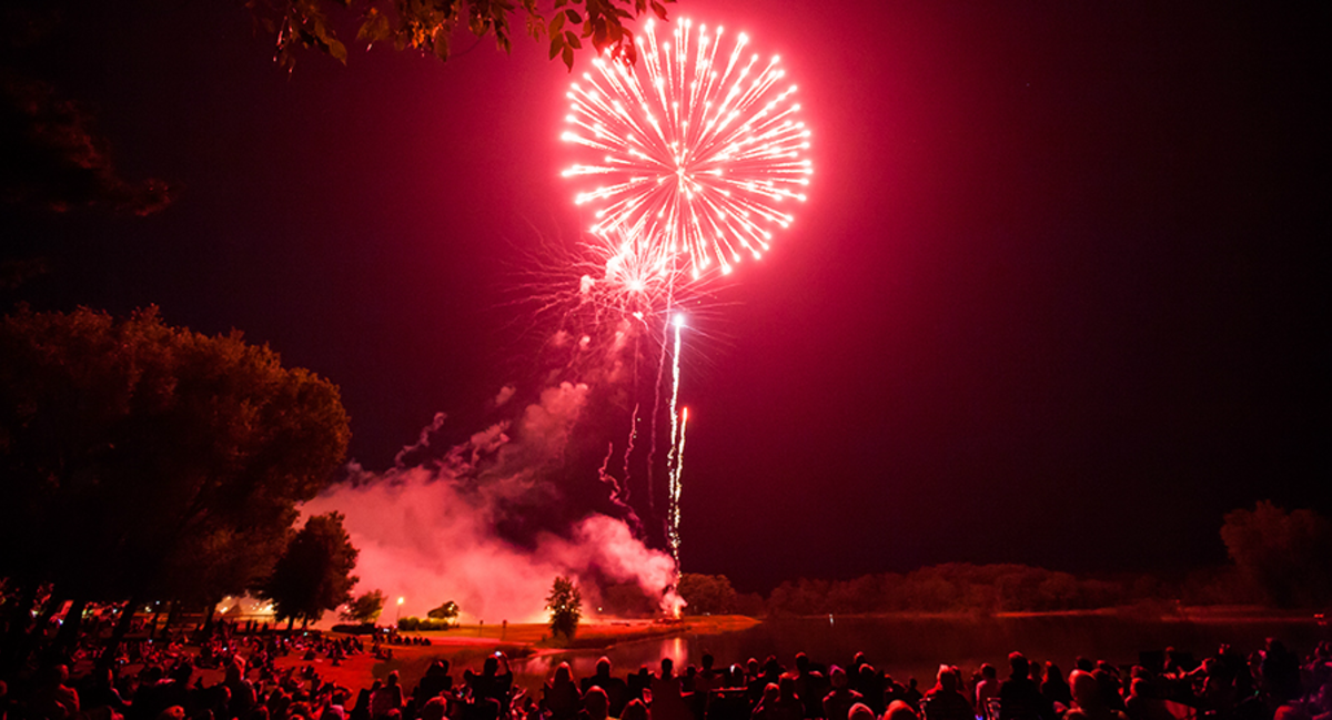 Fireworks at Lake Pacawa during Celebrate Plover in the Stevens Point Area.