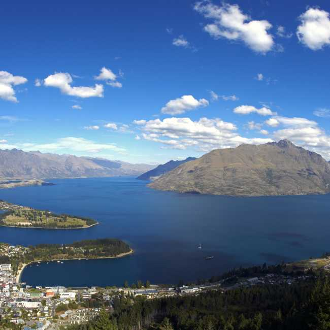 Queenstown aerial view in summer panorama