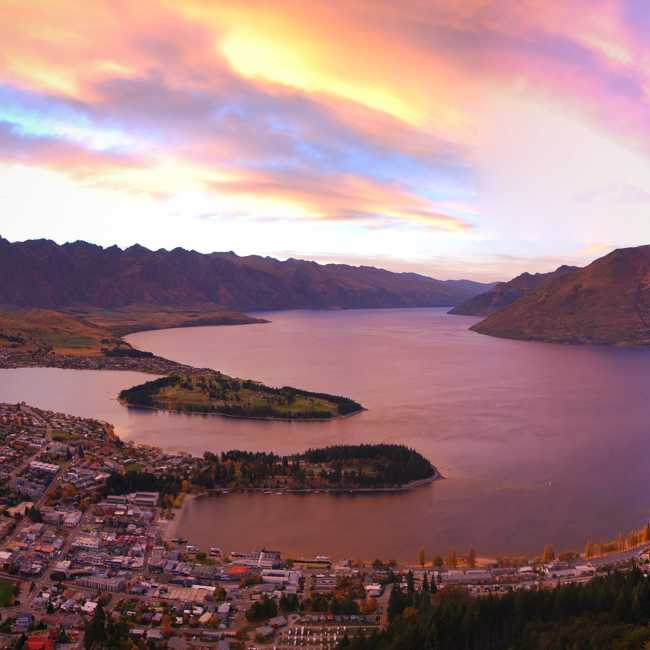 Sunrise panorama over Queenstown