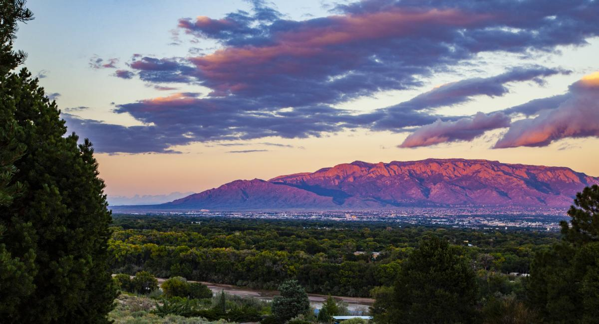 The Sandia Mountains at sunset from the westside of the city.