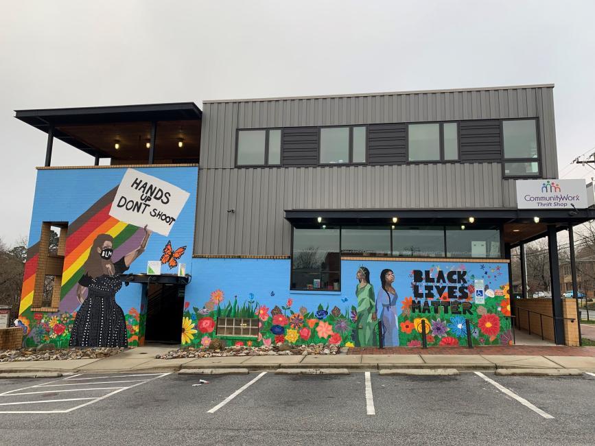 Black Lives Matter mural, Community Worx in Carrboro