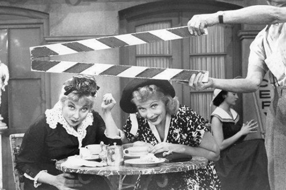 Lucille Ball and Ann Sothern on set