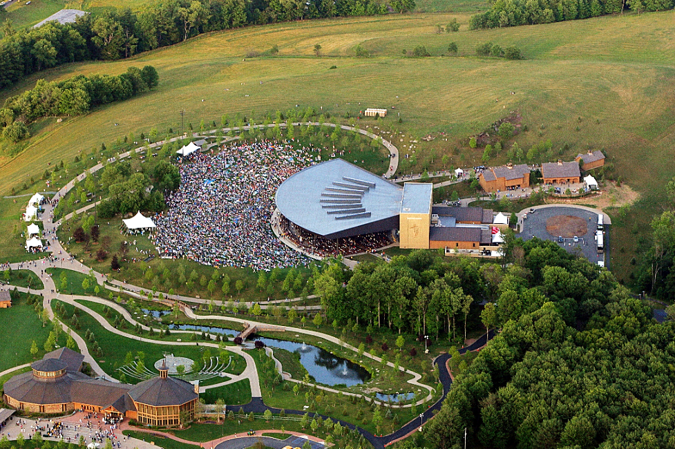 Aerial view of concert at Bethel Woods