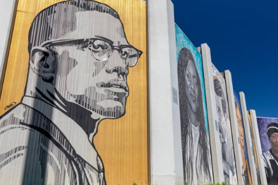 Malcolm X painted on a mural panel for the Freedom Wall in Buffalo