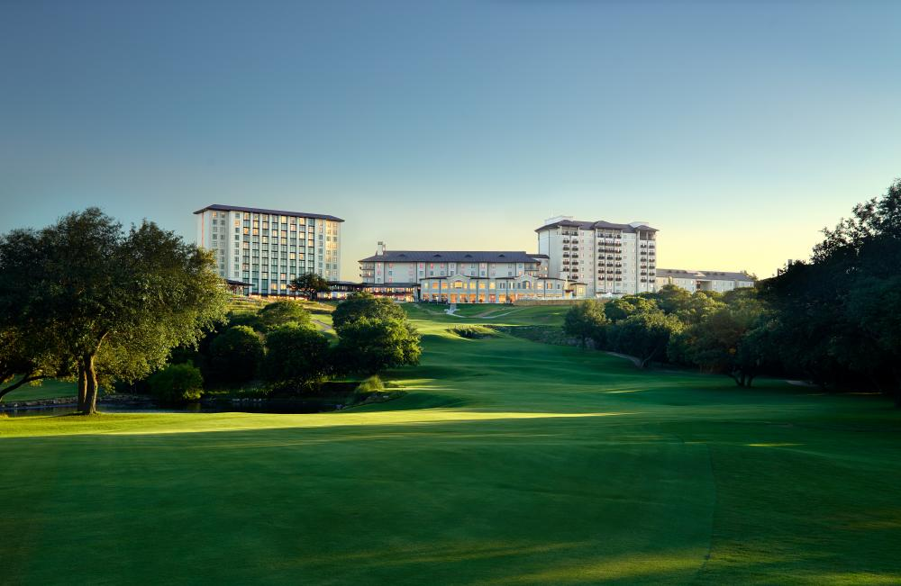 View of Omni Barton Creek Resort and Spa from gold course in Austin Texas