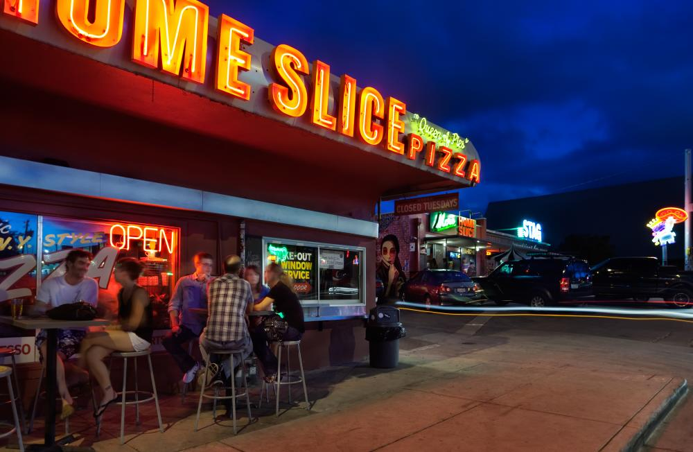 Home Slice Pizza at night on South Congress in austin texas