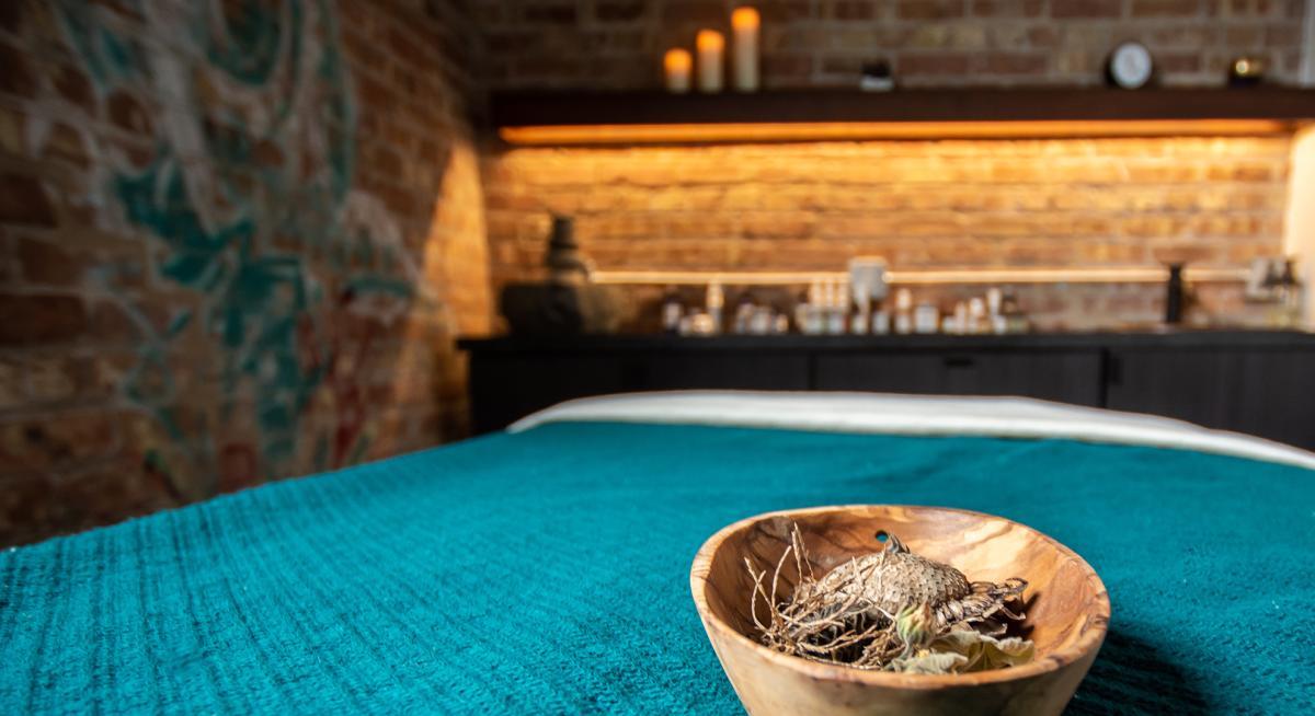 A spa bed awaits its next client