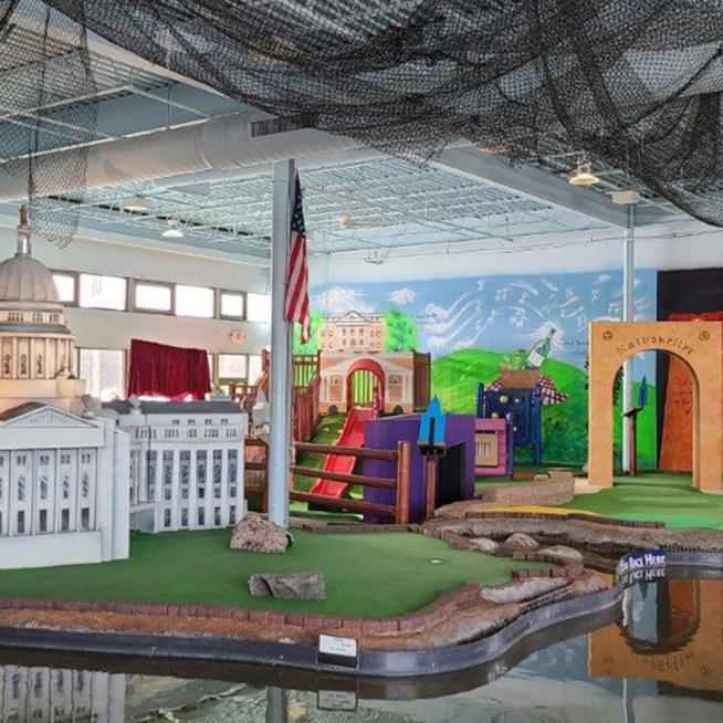 An indoor mini golf course at Vitense Golfland
