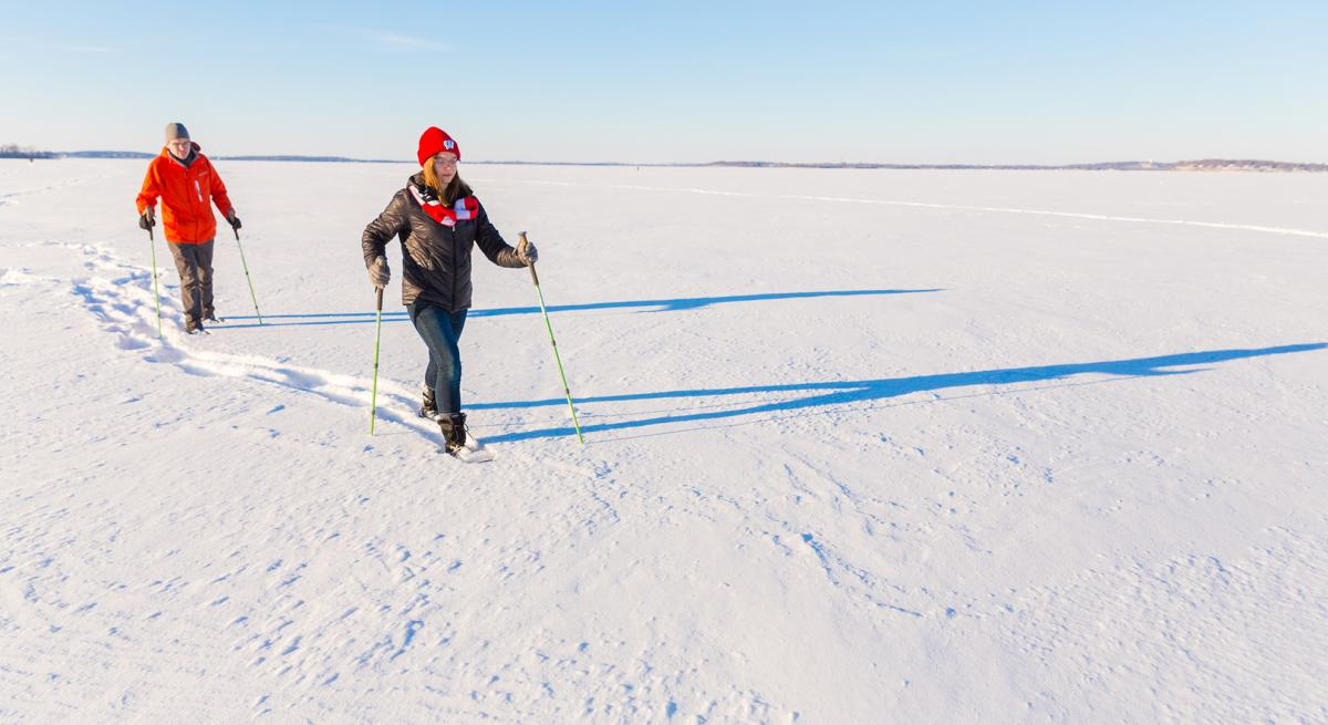 A couple snowshoes on frozen Lake Mendota