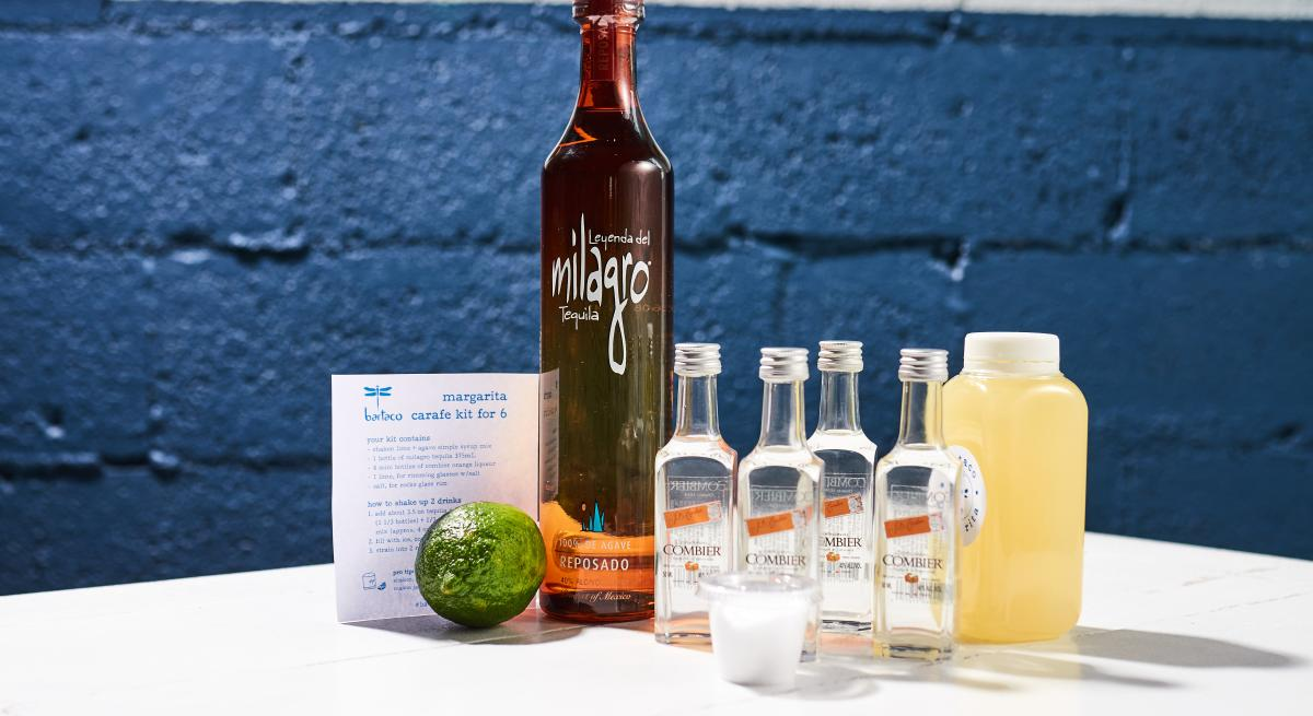 A margarita kit, complete with recipe card, from bartaco