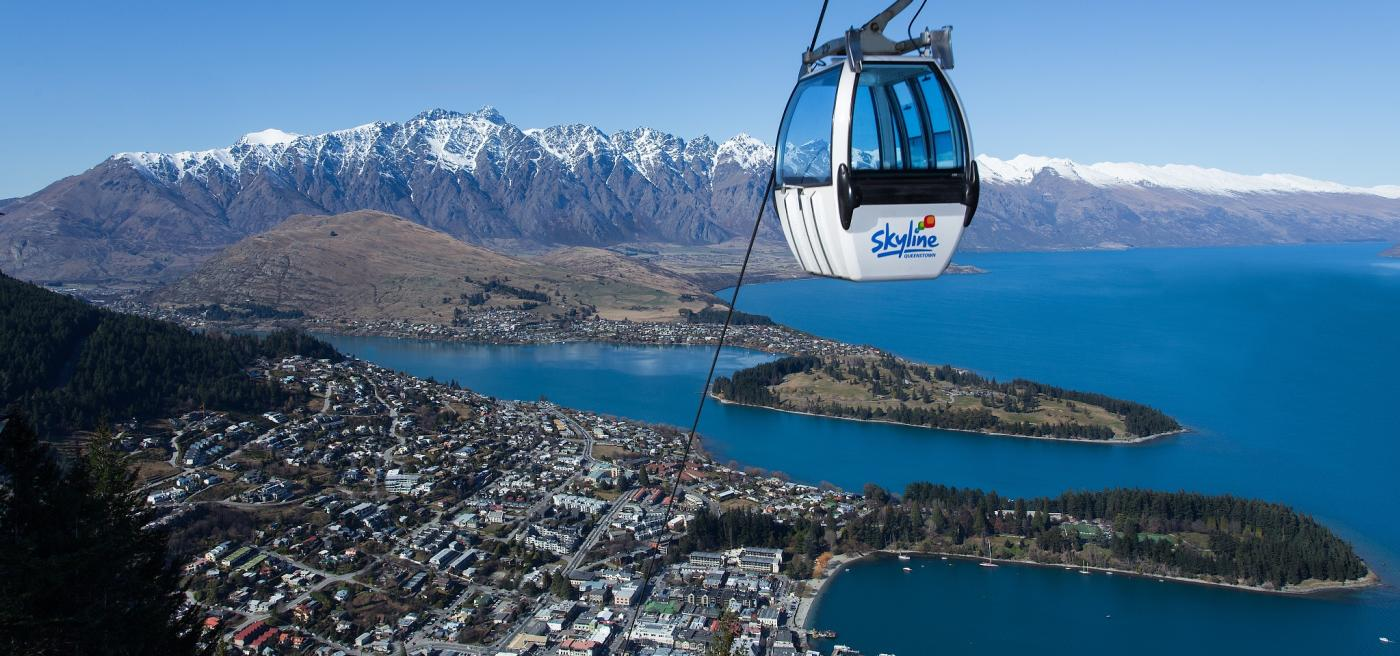 Skyline Gondola over Queenstown with the Remarkables mountains in the background