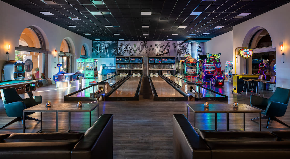 The four-lane bowling alley at Westin Mission Hills Golf Resort & Spa.