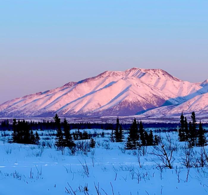 Eastern Alaska Range winter sunset