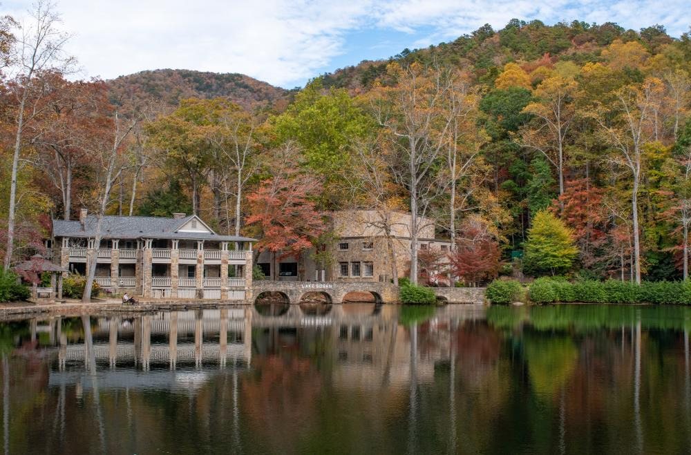 Autumn hues reflect in the water at Lake Susan at Montreat College just east of Asheville, NC
