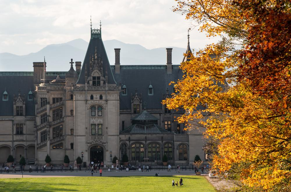 Fall color frames Biltmore in Asheville, NC in October 2020