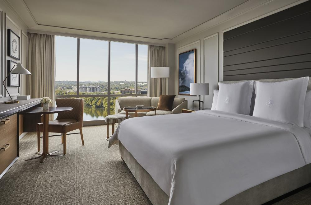 Lake View King Bed Room at the Four Seasons Hotel in Austin Texas
