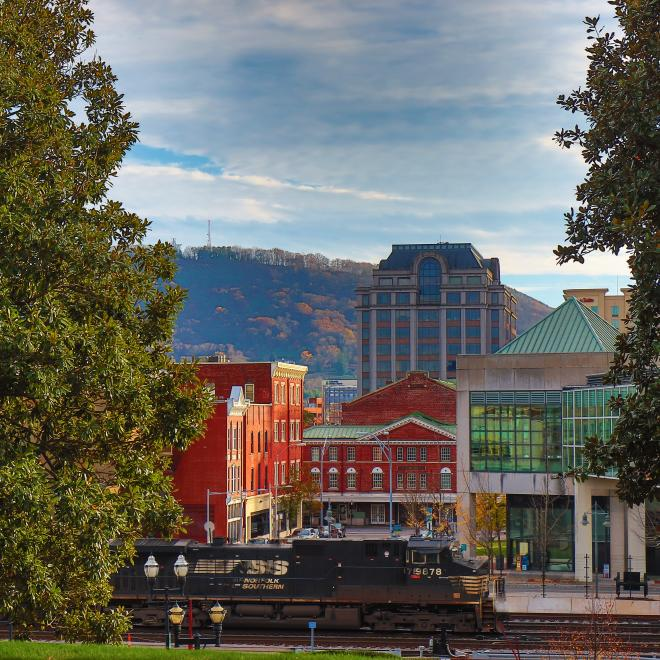 Two trees frame the side of the picture, while a train crosses the railroad in the bottom third of the picture. In the background are brick buildings and Mill Mountain.