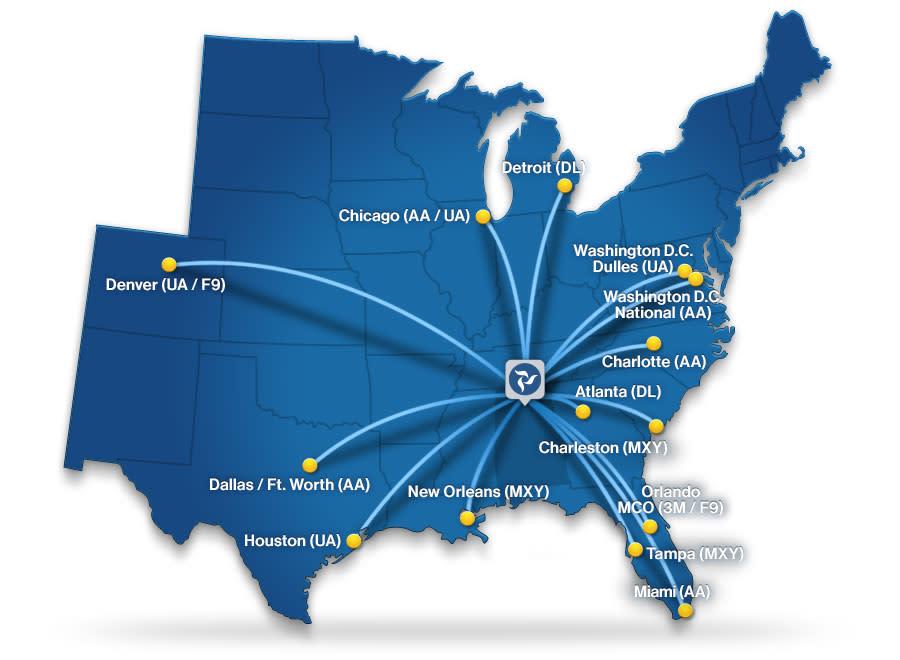 2021 - Huntsville Airport direct flight map