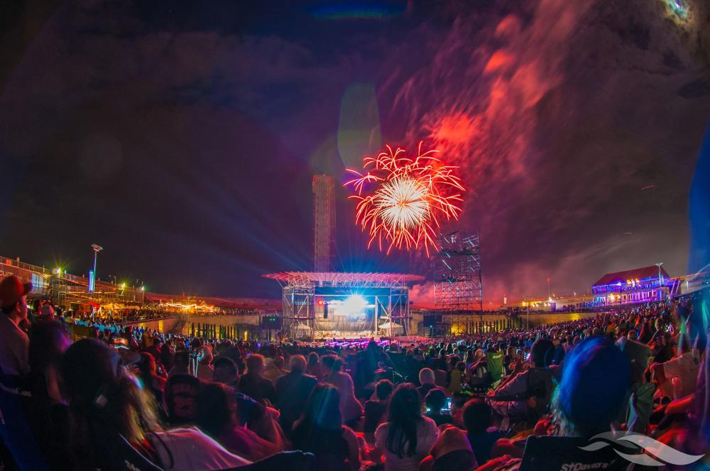 Nighttime concert with fireworks Germania Insurance Amphitheater at Circuit of The Americas in Austin Texas