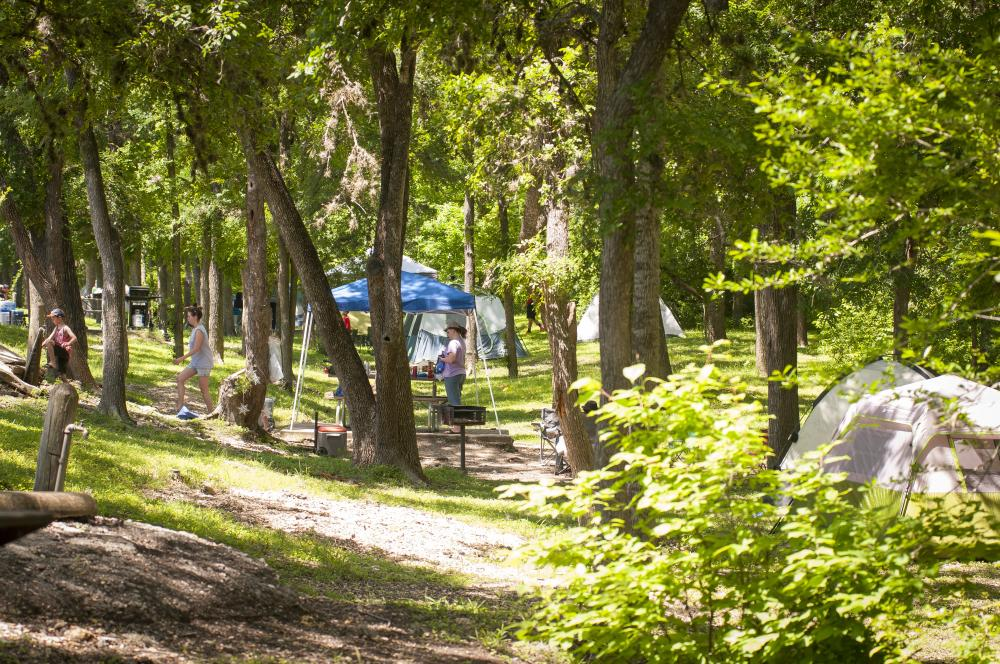 Campground at Lockhart State Park near Austin Texas