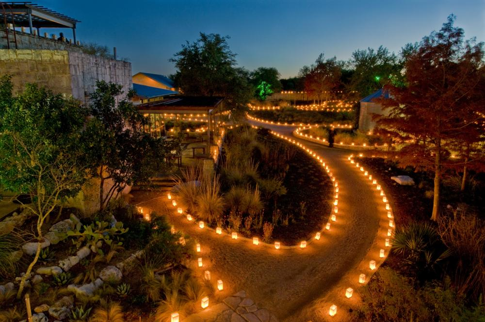 Luminations holiday display at the Lady Bird Johnson Wildflower Center in Austin Texas