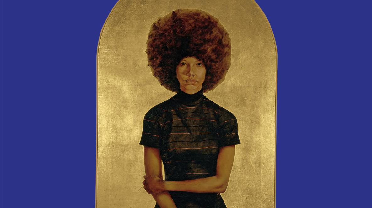 Barkley L. Hendricks, Lawdy Mama, 1969, oil and gold leaf on canvas. The Studio Museum in Harlem; gift of Stuart Liebman, in memory of Joseph B. Liebman, 1983.25. © Estate of Barkley L. Hendricks. Courtesy of the artist's estate, Jack Shainman Gallery, New York and American Federation of Arts.