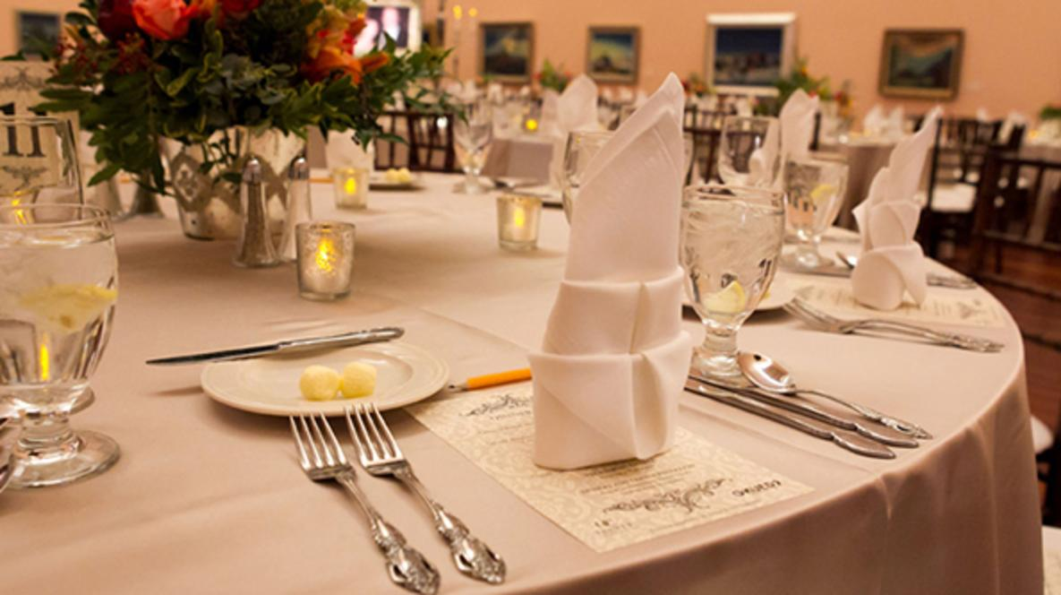 Professionally set table provided by Utah Food Services at Mountain America Exposition Center